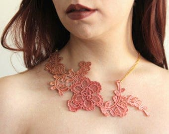 Ombreè lace necklace. Statement necklace, italian lace, venice lace, victorian jewelry, brown, peach pink, burnt orange, caramel