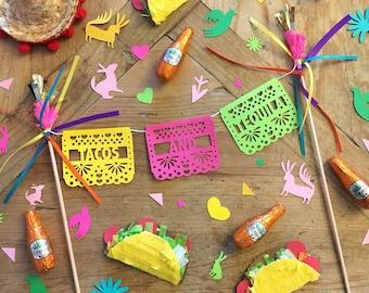 Fiesta Cake Topper, Papel Picado, Cinco de Mayo, Mexican Fiesta Decorations, Fiesta Theme, Fiesta Bachelorette, Tacos and Tequila Party