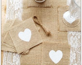 heart print cutlery holder,flatware holder,rustic wedding decoration,burlap coasters