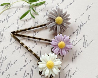 Purple, White And Grey Daisy Flower Hair Clips