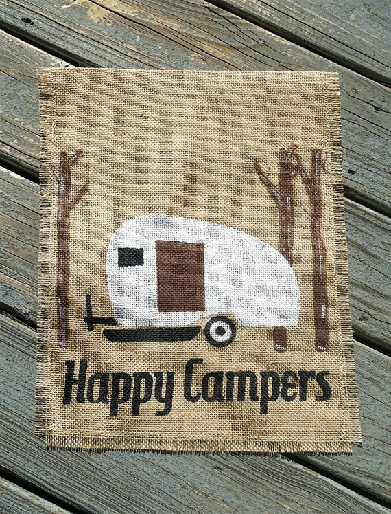 Happy Camper Burlap Garden Flag Personalized Camping Signs