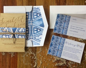 Wedding Invitation. -Limited Shibori invitation set lined envelope set- Wood Invitation - 10 pack