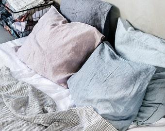 "Set of 2 / 26""x26"" (65x65 cm) EURO / Set of 2 linen pillowcases / 25 colors"