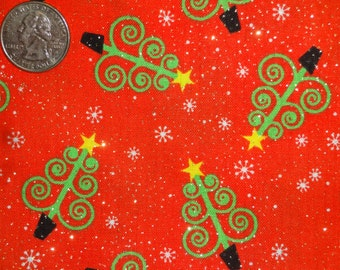 Christmas Trees Glitter XMAS Red JoAnn Cotton Quilting Fabric BTY by the yard