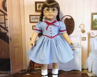 American Girl 1940's Blue Gingham Dress