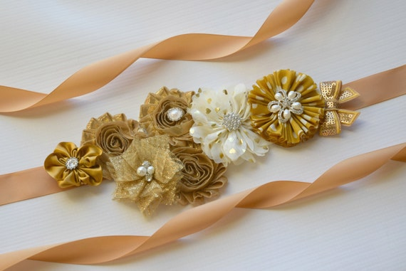 Flower Sash,Gold  Sash , flowersash  Belt, maternity sash, flower sash