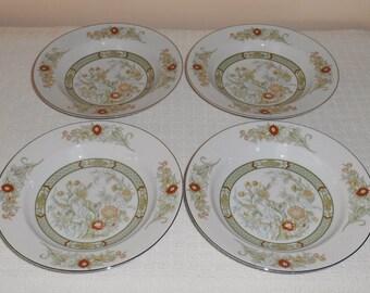 set of 4 mikasa china kabuki pattern porcelain rimmed soup bowls asian inspired