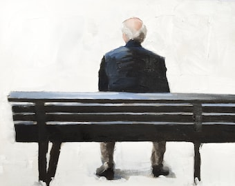 Man on Bench Painting Old Man Art PRINT Old Man on Bench - Art Print - from original painting by J Coates