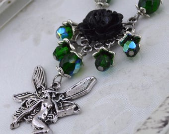 Fairy Rose - Emerald Green AB and Antique Silver Fantasy Victorian Fairy Necklace - Rose Fairy necklace