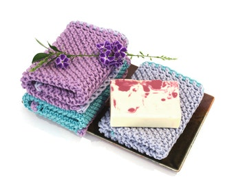 Knit wash cloths, knitted washcloth set, large wash cloths, spa face towels, handmade knit dishcloths, 100% cotton, home and living gift