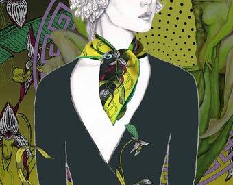 SPRING, 65 x 65 cm,  silkscarf, artwork, luxury fashion, accessoires, Silk, limited Edition,  painting, abstract Art of ZAZAA