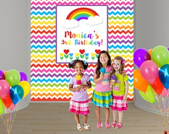 Rainbow Birthday Personalize Photo Backdrop -Girls Birthday Party Photo Backdrop- Custom Party Photo Backdrop