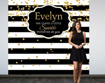 Bridal Shower Personalized Photo Backdrop -Black and White Stripes Photo Backdrop- Birthday Photo Backdrop - Custom Photo Booth Backdrop