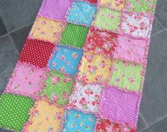 Baby Rag Quilt, Flower Sugar by Lecien,  Designer Fabric, Baby Girl Handmade Quilt, Baby Shower Gift, Photo Shoot Prop, Toddler Quilt