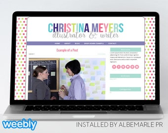 Premade Weebly Template, Colorful Text and Polka Dot Template - Christina