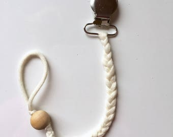 Braid and Bead Pacifier Holder/Clip