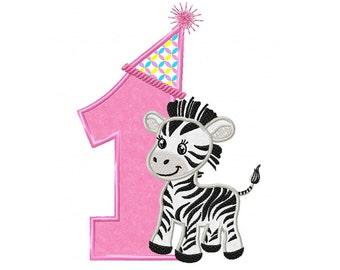1st Birthday Zebra...Instant Download...Applique Machine Embroidery DESIGN NO. 811