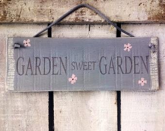 garden sweet garden. handpainted rustic wooden signs.
