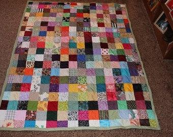 Scrappy Patchwork Quilt - XL Twin Size Quilt - 50% DEPOSIT