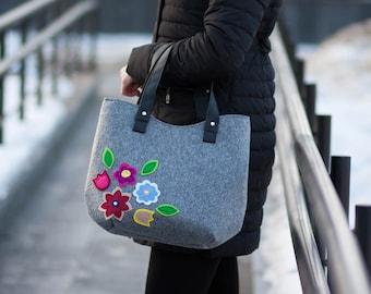 Women's shoulder bags Vegan hobo bag Felted Hobo Bag Floral tote bag Office Bag Women felt bag Grey handbag with top handles Gift for her