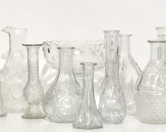 Collection of Ten Vintage Clear Glass Flower Vases Wedding Vases Planters Compotes Vintage Cut Crystal