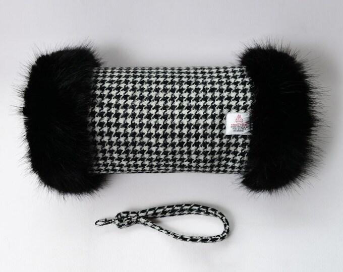 Harris Tweed Houndstooth Pure Wool Hand Muff with Black Faux Fur Trim