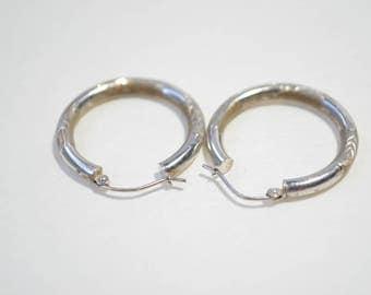 Vintage Large 10K White Gold Ethed Loop Hoop Earrings