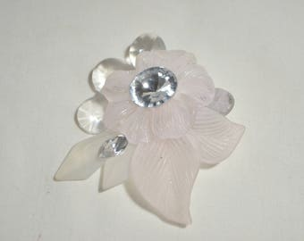 "Vintage Light Pink Flower Leaf Clear Rhinestone Brooch Pin 3.5"""