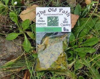 Dried mistletoe, mistletoe leaves, Druids plant, Druidry, yule sabbat incense making, loose incense for charcoal, hedgewitch supplies
