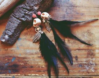 Boho feather earrings/bohemian earrings/feather earrings/navjo earrings/skulls earrings/hippie earrings/birthday gift/gift for her