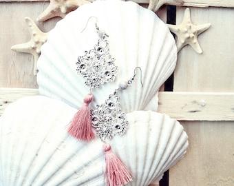 Boho tassel earrings/victorian earrings/bohemian earrings/tassel earrings/pink blush earrings/bridal earrings/mother's day/gift for her