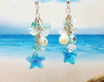 Beach Jewelry Ideas ~ Summer Jewelry Trend ~ Blue Summer Earrings ~ Bridesmaid Jewelry ~ Crystal Earrings ~ Beach Wedding ~ Mermaid Jewelry