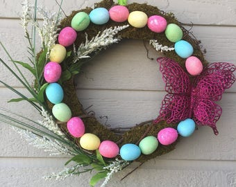 Easter Egg Wreath, Butterfly wreath, Springtime Easter Wreath, Colorful pastel egg wreath, Easter Decoration, Front Door Easter