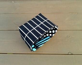 Waterproof fabric basket organizer from coated Marimekko fabric Tilliskivi, black and white storage bin container, bathroom decor