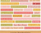 Love You Best Word Strips Word Stash Valentine Word Phrases Word Art Love Digital Scrapbooking Word Clipart Pink Coral Plum Orange Clip Art