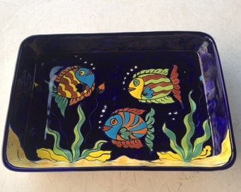 Vintage Large Hand Painted Mexican Pottery Fish Tray