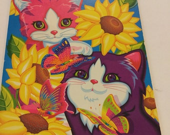 Vintage Lisa Frank Sunflower Kittens sticker collection Book