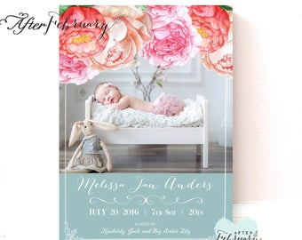 Floral Birth Announcement Baby Girl Birth Photo Announcement Printable File // Printable OR Printed No.979