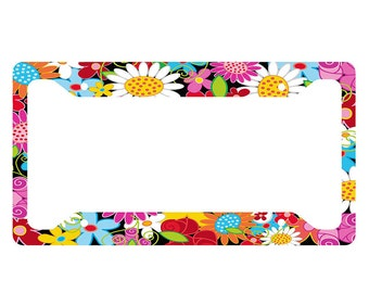 Flower License Plate Frame