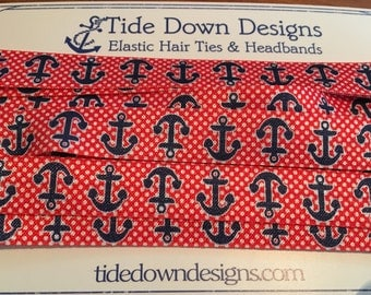 5 yds - Blue Anchor Fold Over Elastic - red/blue anchors perfect for hair ties and headbands