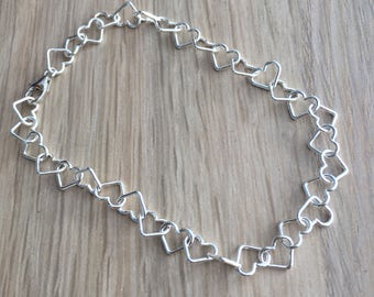 Sterling silver heart wire bracelet