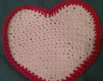 "SALE Valentine Dishcloth Hearts, handmade, crocheted 8""Accent for Valentine's Day decor"