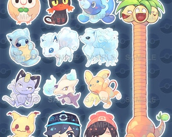 Pokemon Sun and Moon Stickers Alola form pokemon