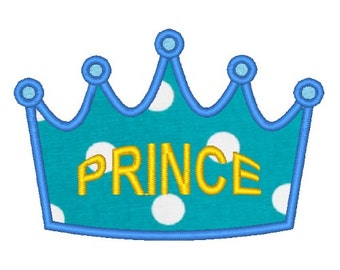 Prince Applique Crown Machine Embroidery Design Prince Embroidery Designs 3 4 5 6 inch sizes Instant Download
