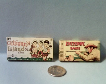 Dollhouse Miniature Vintage Board Games Set #7