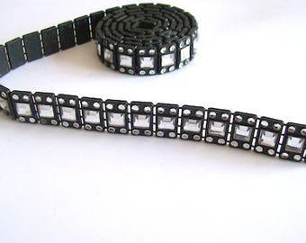 black diamante trim  Ribbon trim Black  trim edging 15mm wide 77cm long
