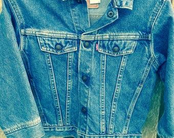 Great Vintage Levi Levi's Strauss Child Denim Jean Jacket - Snap Buttons Great Condition - Size 7 - Let's Ride Em Cowboy!