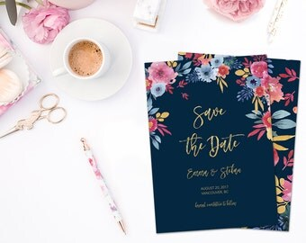 Save the Date Card, Summer Wedding Save the Date Card, Save the Date Printable, Floral Save the Date, Summer Wedding Invitation