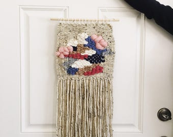 Oatmeal Floral Woven Art Wall Hanging