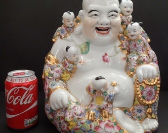 "Vintage Large 12"" Porcelain Chinese Happy Buddha Mille Fleur Famille Rose"